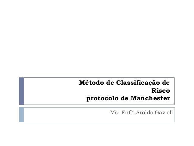 Método de Classificação de Risco protocolo de Manchester Ms. Enfº. Aroldo Gavioli