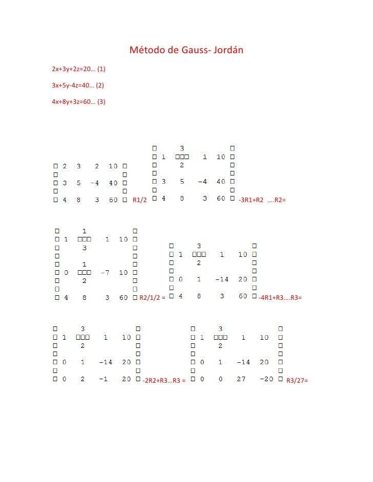 Método de Gauss- Jordán 2x+3y+2z=20… (1)  3x+5y-4z=40… (2)  4x+8y+3z=60… (3)                        R1/2                  ...