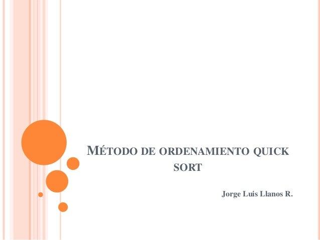 MÉTODO DE ORDENAMIENTO QUICKSORTJorge Luis Llanos R.