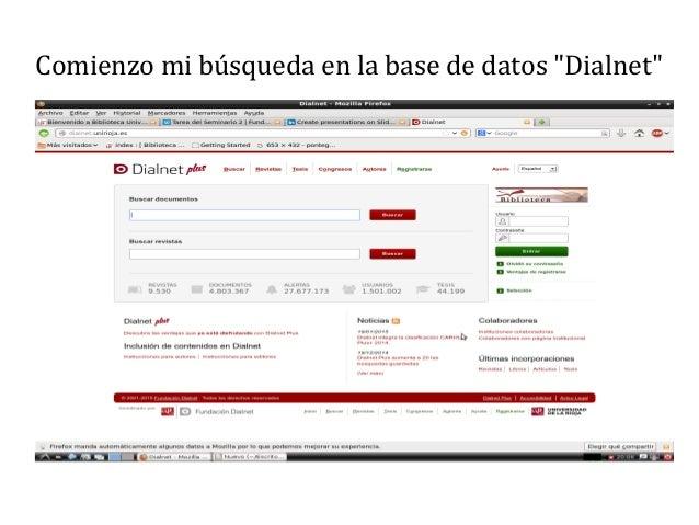 """Comienzo mi búsqueda en la base de datos """"Dialnet"""""""