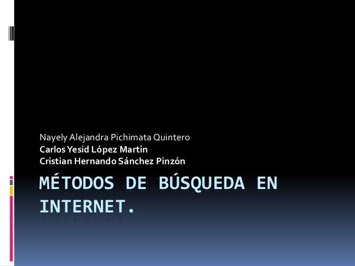 Nayely Alejandra Pichimata QuinteroCarlos Yesid López MartinCristian Hernando Sánchez PinzónMÉTODOS DE BÚSQUEDA ENINTERNET.