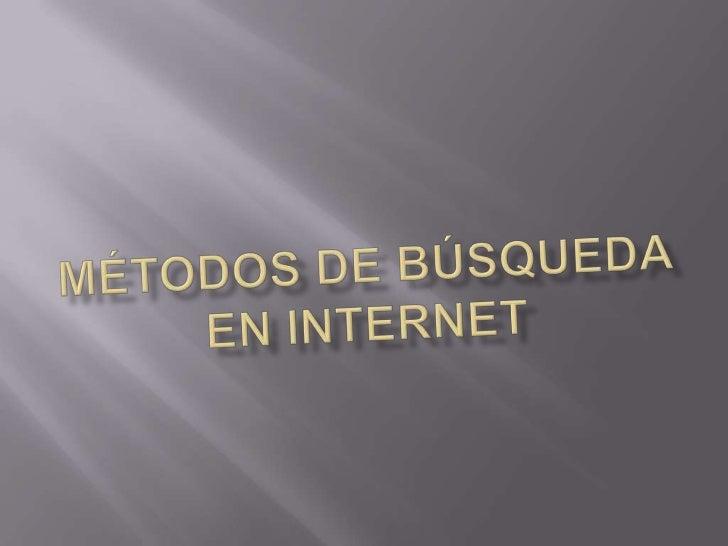 Métodos de búsqueda en internet