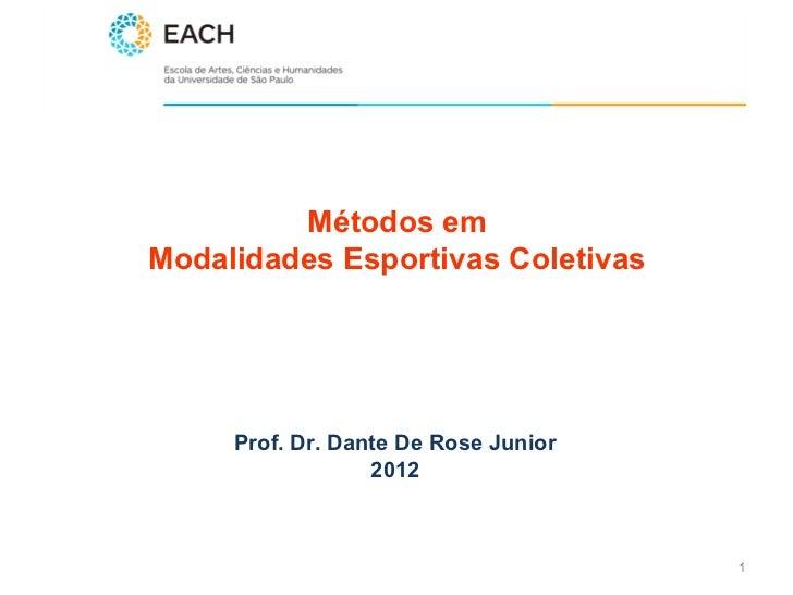 Métodos emModalidades Esportivas Coletivas     Prof. Dr. Dante De Rose Junior                  2012                       ...