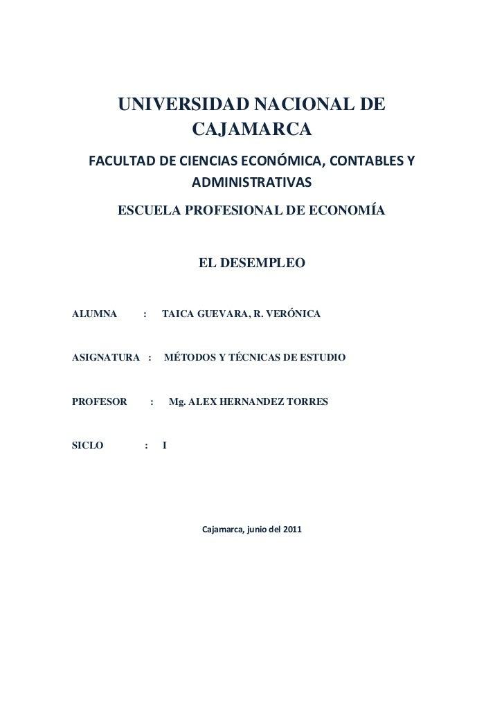 UNIVERSIDAD NACIONAL DE CAJAMARCA<br />FACULTAD DE CIENCIAS ECONÓMICA, CONTABLES Y ADMINISTRATIVAS <br />ESCUELA PROFESION...
