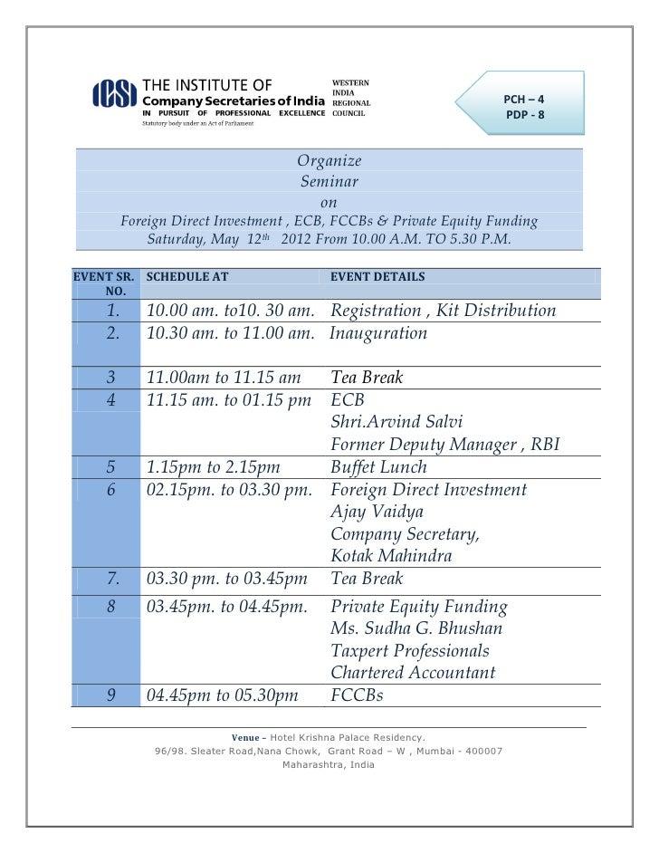 Seminar on FDI and Private Equity :- Speaker CA. Sudha G. Bhushan