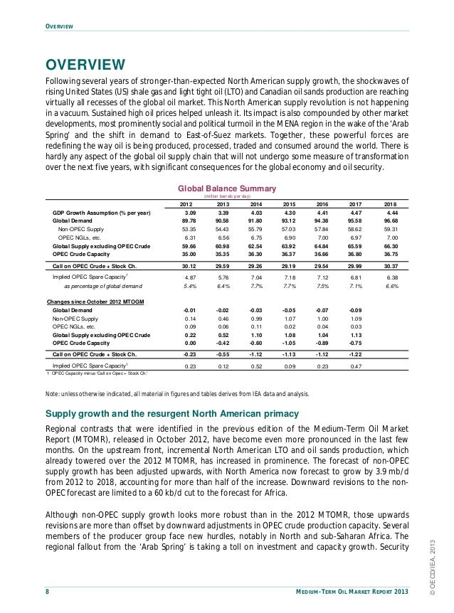 OVERVIEW8 MEDIUM-TERM OIL MARKET REPORT 2013OVERVIEWFollowing several years of stronger-than-expected North American suppl...
