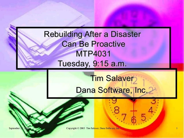 Rebuilding After a Disaster                         Can Be Proactive                              MTP4031                 ...