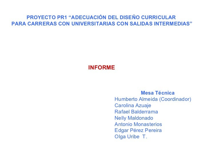 """PROYECTO PR1 """"ADECUACIÓN DEL DISEÑO CURRICULAR  PARA CARRERAS CON UNIVERSITARIAS CON SALIDAS INTERMEDIAS"""" INFORME Mesa Téc..."""