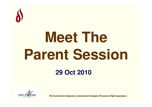Full Commitment • Aspiration & Achievement • Integrity • Teamwork • High Expectations 29 Oct 2010 Meet The Parent Session