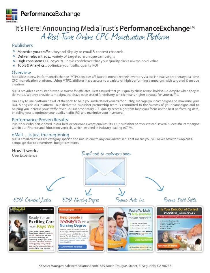 MediaTrust PerformanceExchange Email Publisher Partner Collateral One Sheet