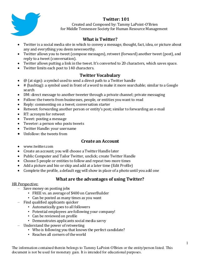 Twitter: 101                                    Created and Composed by: Tammy LaPoint-OBrien                             ...