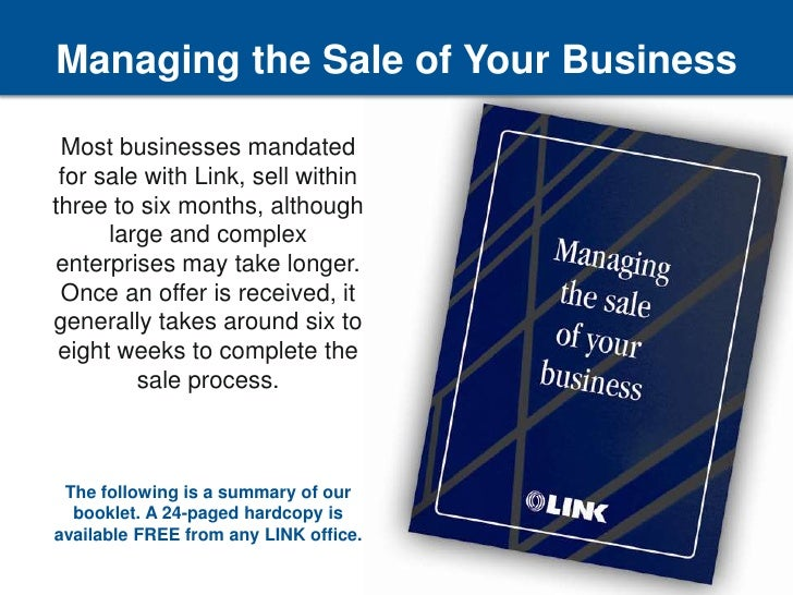 Managing the sale of your business