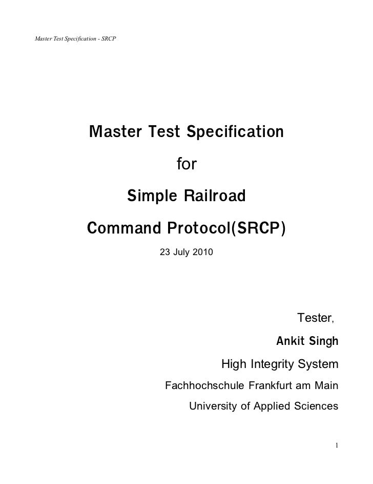 Master Teset Specification SRCP