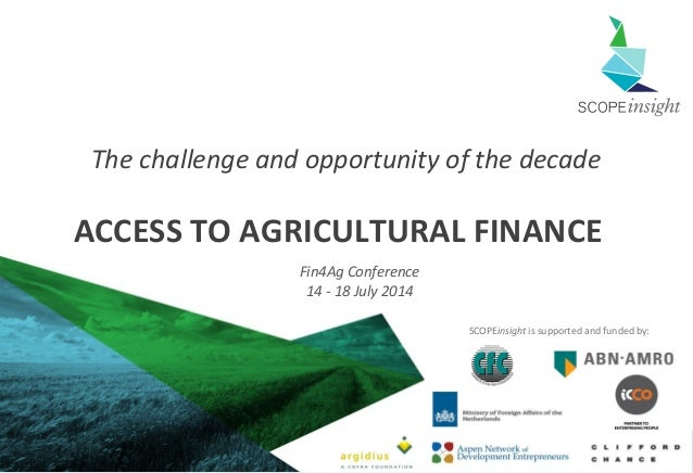 Access to agricultural finance