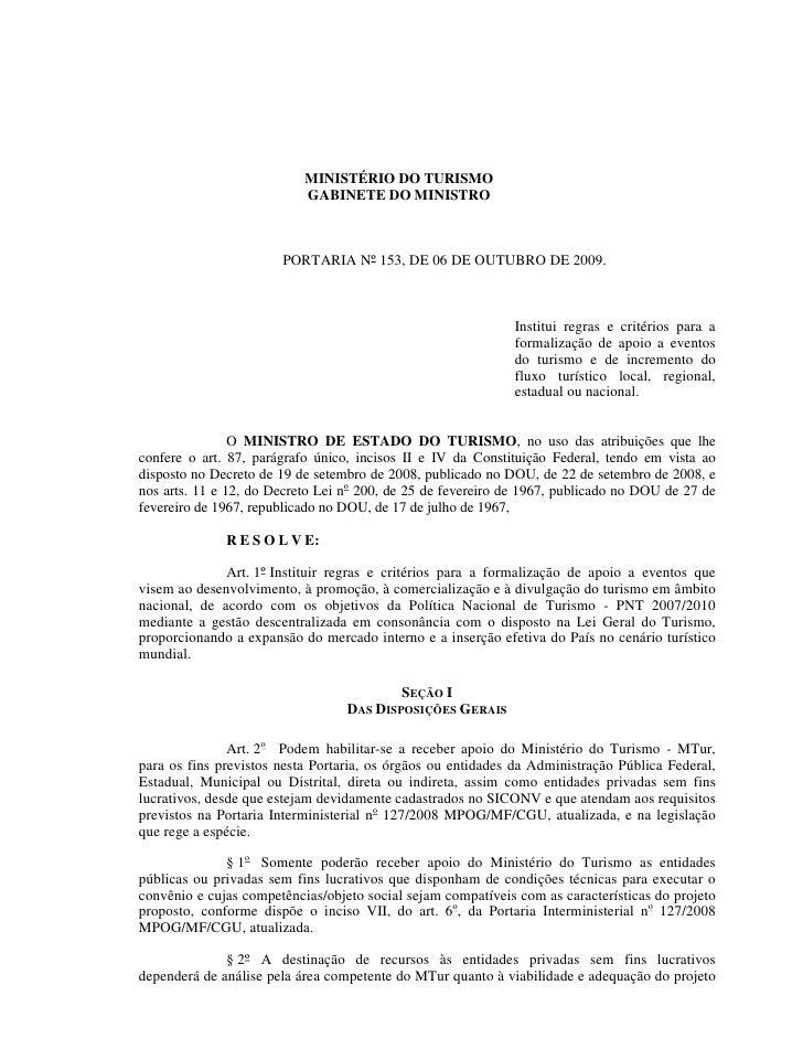 MINISTÉRIO DO TURISMO                            GABINETE DO MINISTRO                           PORTARIA Nº 153, DE 06 DE ...