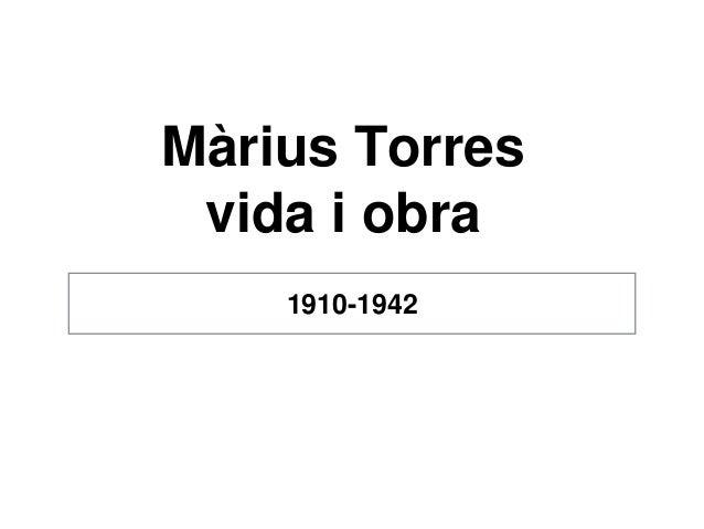 Màrius Torres vida i obra 1910-1942