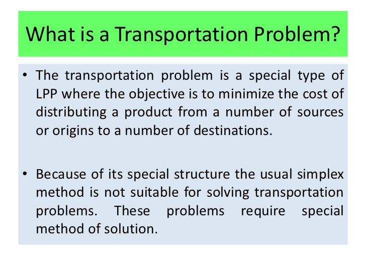 Research paper on transportation problem