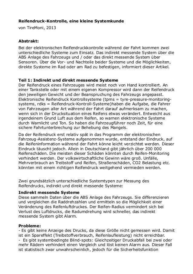 Reifendruck-Kontrolle, eine kleine Systemkunde  von TireMoni, 2013  Abstrakt:  Bei der elektronischen Reifendruckkontrolle...