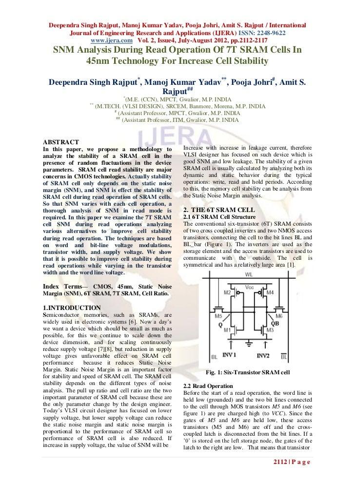 Deependra Singh Rajput, Manoj Kumar Yadav, Pooja Johri, Amit S. Rajput / International        Journal of Engineering Resea...