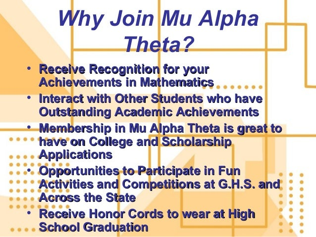 mu alpha theta essay Queen of peace students inducted into mu alpha theta, the math national honor society (posted by queen of peace high school, community contributor) posted by queen of peace high school.