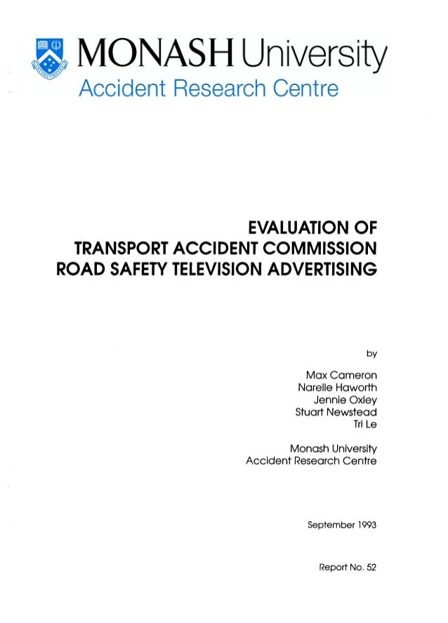 EVALUATION OF  TRANSPORT ACCIDENT COMMISSIONROAD SAFETY TELEVISION ADVERTISING                                            ...