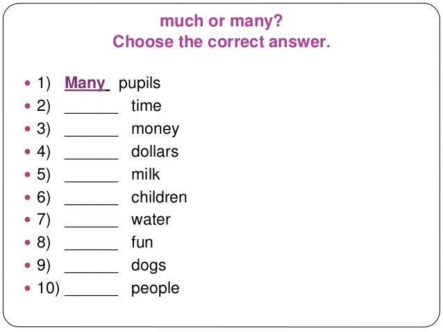 Quantifiers: Much and Many