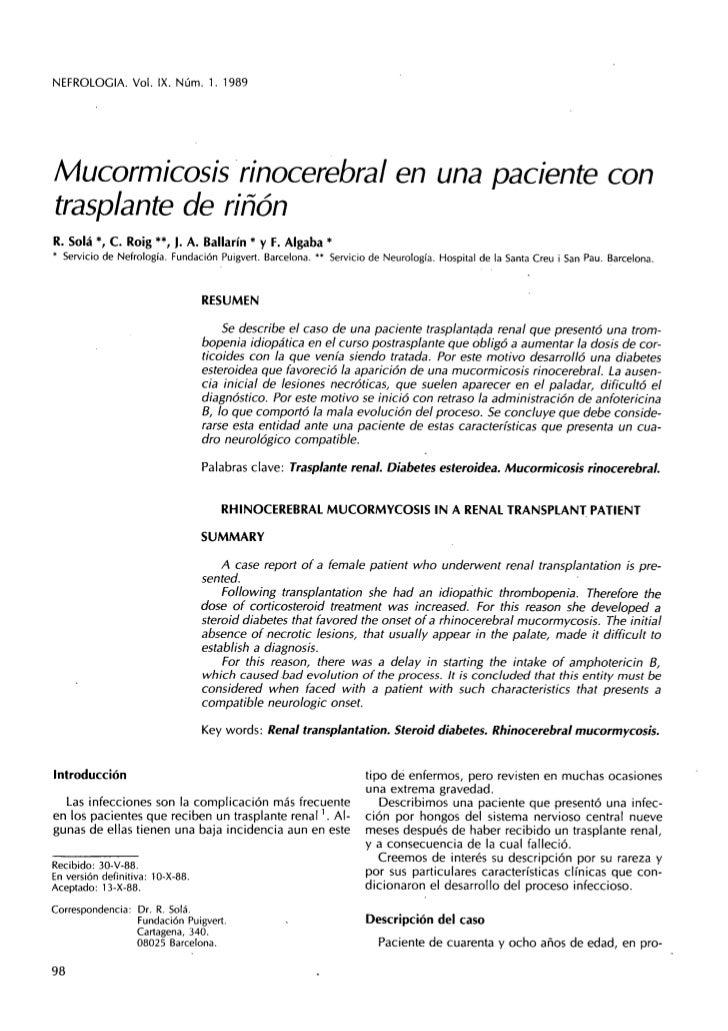 Mucormicosis rinocerebral en paciente con transplante renal
