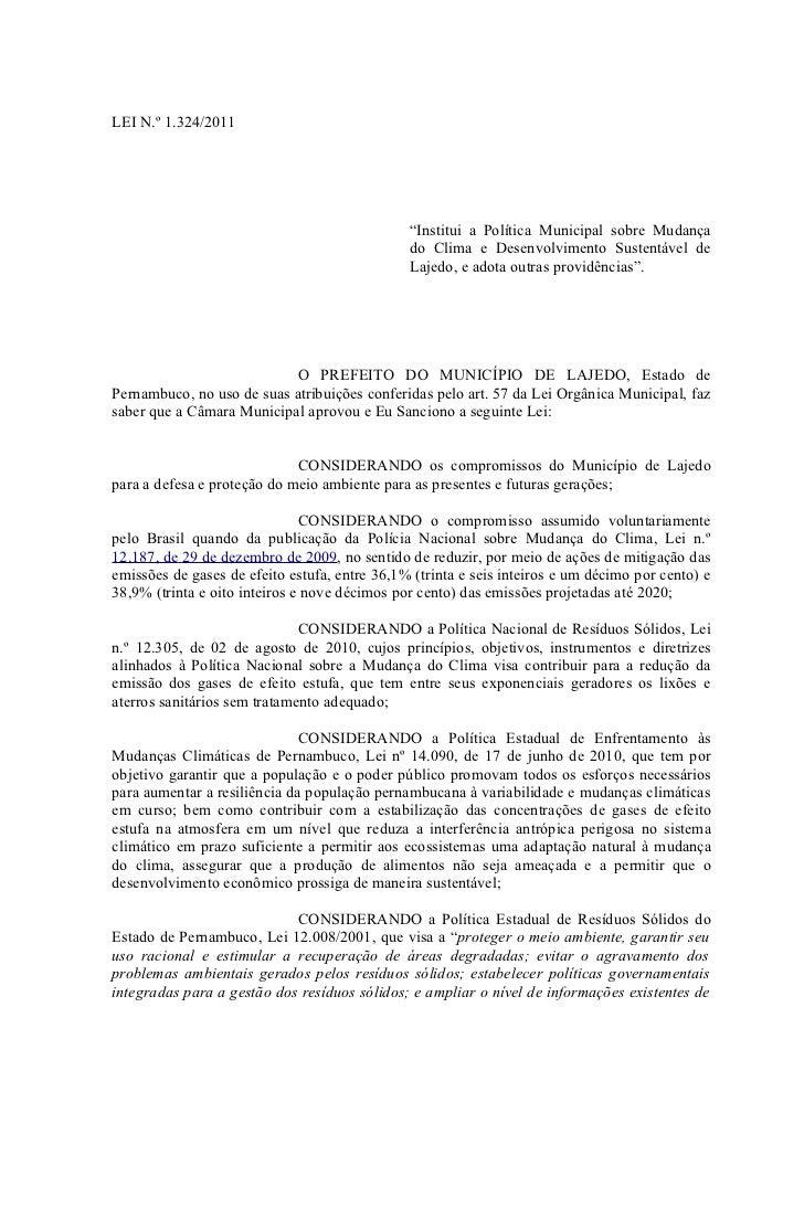 """LEI N.º 1.324/2011                                               """"Institui a Política Municipal sobre Mudança             ..."""
