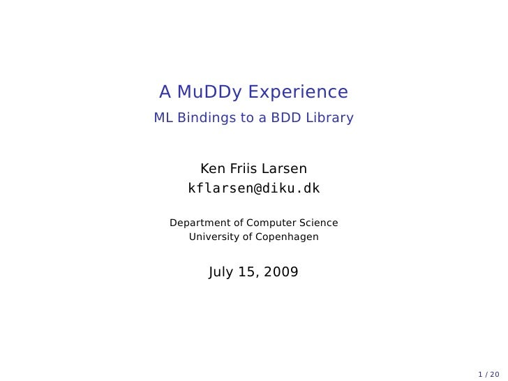 A MuDDy Experience - ML Bindings to a BDD Library