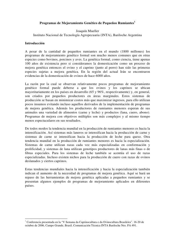 Programas de Mejoramiento Genético de Pequeños Rumiantes1                                     Joaquín Mueller       Instit...