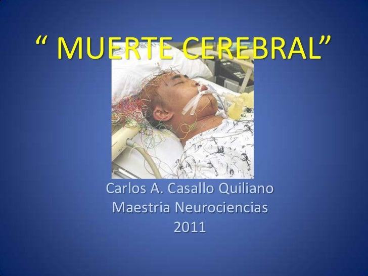 """"""" MUERTE CEREBRAL""""    Carlos A. Casallo Quiliano     Maestria Neurociencias               2011"""
