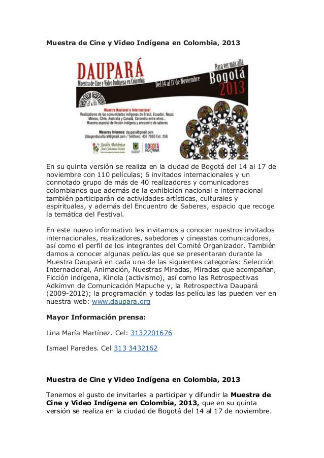 Muestra de cine y video indígena en colombia