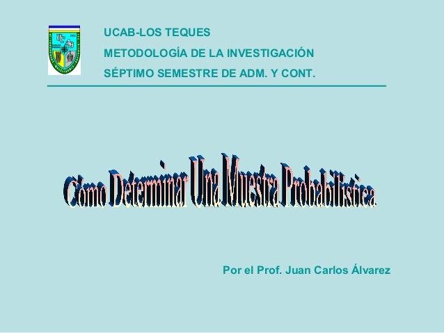 UCAB-LOS TEQUES METODOLOGÍA DE LA INVESTIGACIÓN SÉPTIMO SEMESTRE DE ADM. Y CONT. Por el Prof. Juan Carlos Álvarez