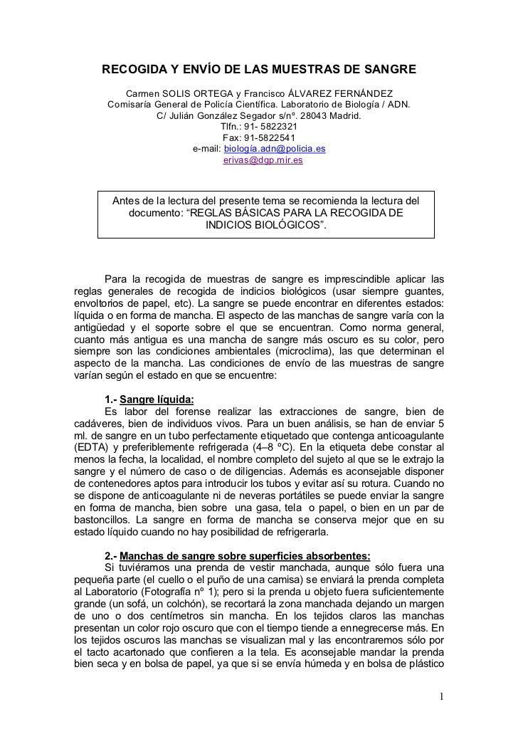 RECOGIDA Y ENVÍO DE LAS MUESTRAS DE SANGRE          Carmen SOLIS ORTEGA y Francisco ÁLVAREZ FERNÁNDEZ       Comisaría Gene...
