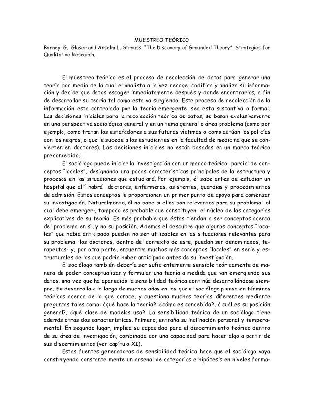 """MUESTREO TEÓRICO Barney G. Glaser and Anselm L. Strauss. """"The Discovery of Grounded Theory"""". Strategies for Qualitative Re..."""