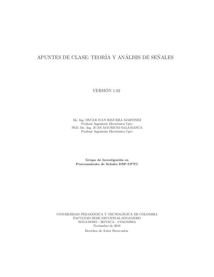 APUNTES DE CLASE: TEOR´ Y ANALISIS DE SENALES                      IA    ´           ˜                              ´     ...