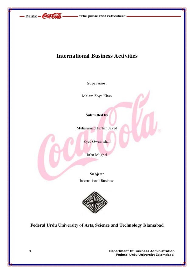 International Business Activities Of Coca Cola company