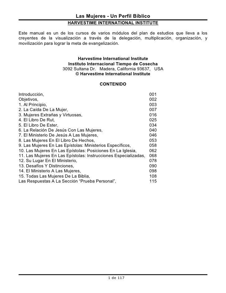Las Mujeres - Un Perfil Bíblico                         HARVESTIME INTERNATIONAL INSTITUTE  Este manual es un de los curso...