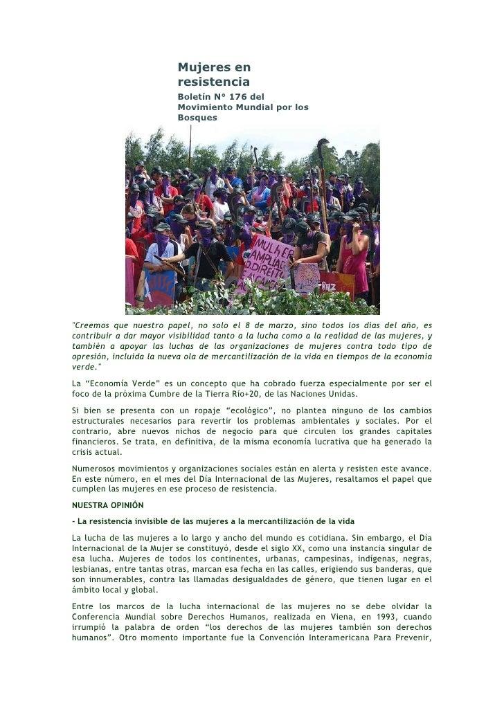 Mujeres en                           resistencia                           Boletín N° 176 del                           Mo...
