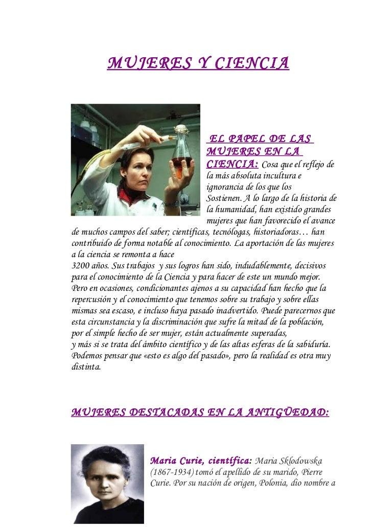 MUJERES Y CIENCIA                                        EL PAPEL DE LAS                                        MUJERES EN...