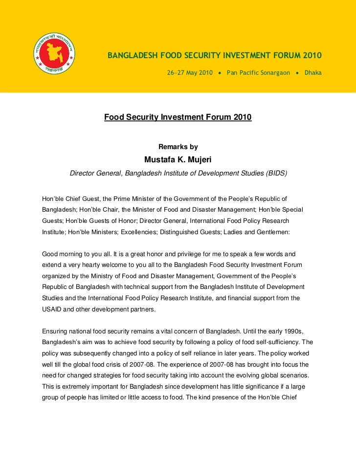 BANGLADESH FOOD SECURITY INVESTMENT FORUM 2010                                               26 27 May 2010        Pan Pac...