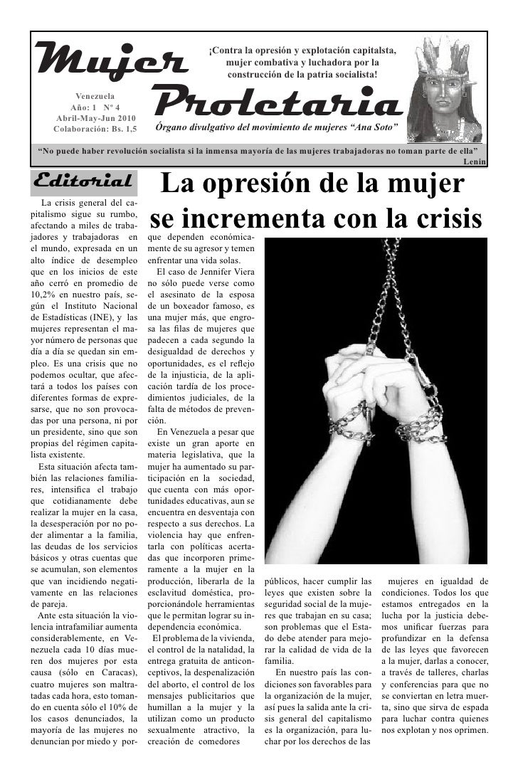 Mujer                                           ¡Contra la opresión y explotación capitalsta,                             ...
