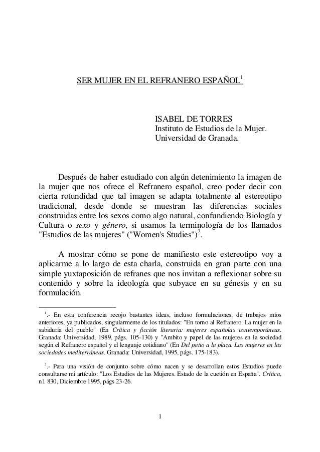 SER MUJER EN EL REFRANERO ESPAÑOL1                                              ISABEL DE TORRES                          ...