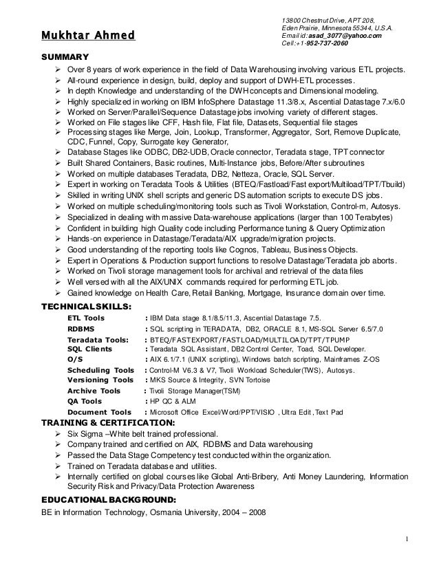 etl resume - Etl Developer Resume