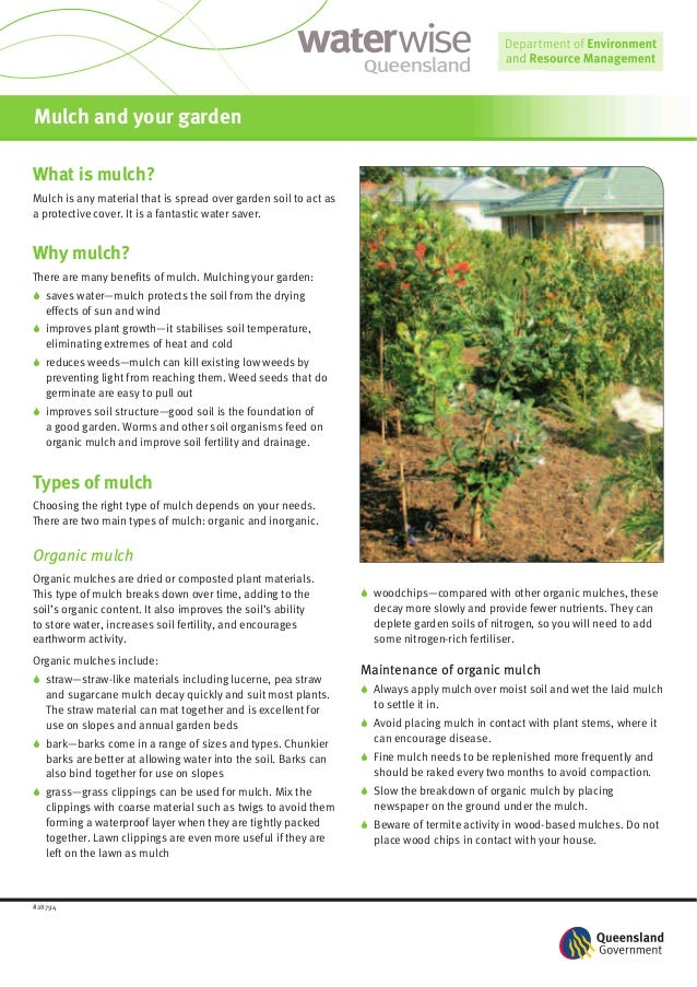 Mulch and your gardenWhat is mulch?Mulch is any material that is spread over garden soil to act asa protective cover. It i...