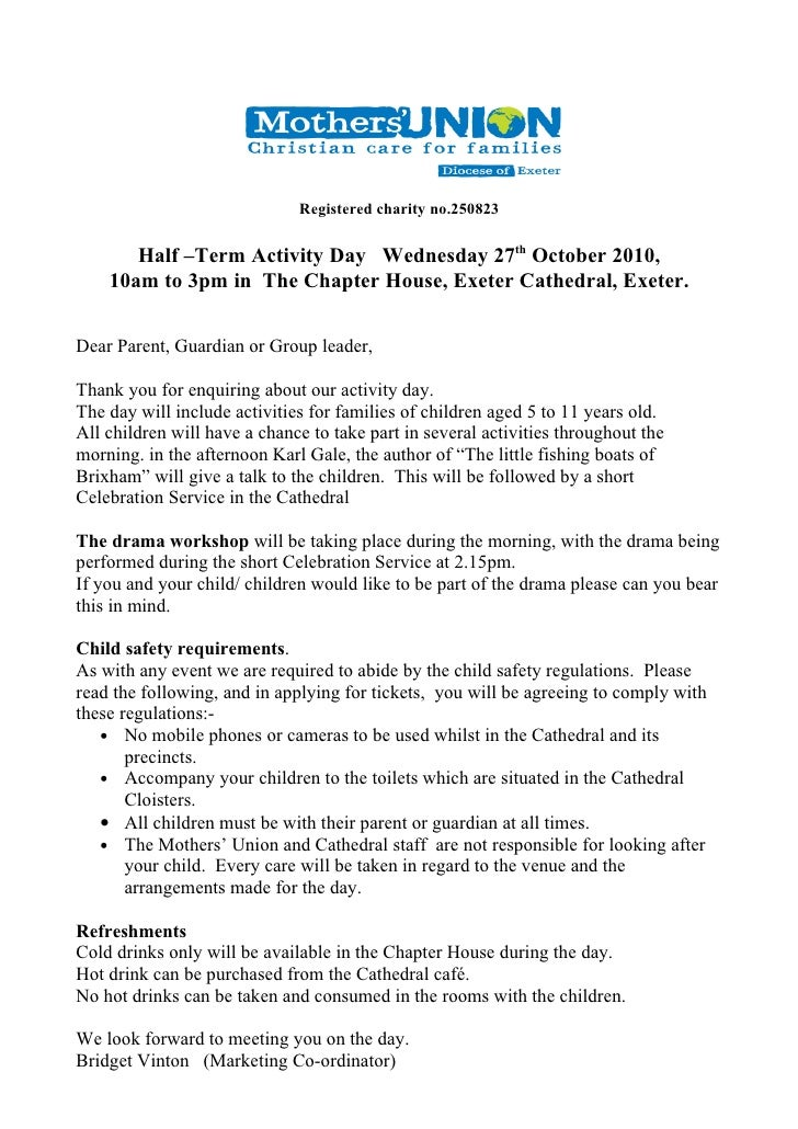 Registered charity no.250823         Half –Term Activity Day Wednesday 27th October 2010,     10am to 3pm in The Chapter H...