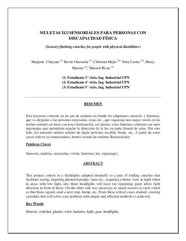 MULETAS ILUSENSORIALES PARA PERSONAS CON DISCAPACIDAD FÍSICA (Sensory flashing crutches for people with physical disabilit...