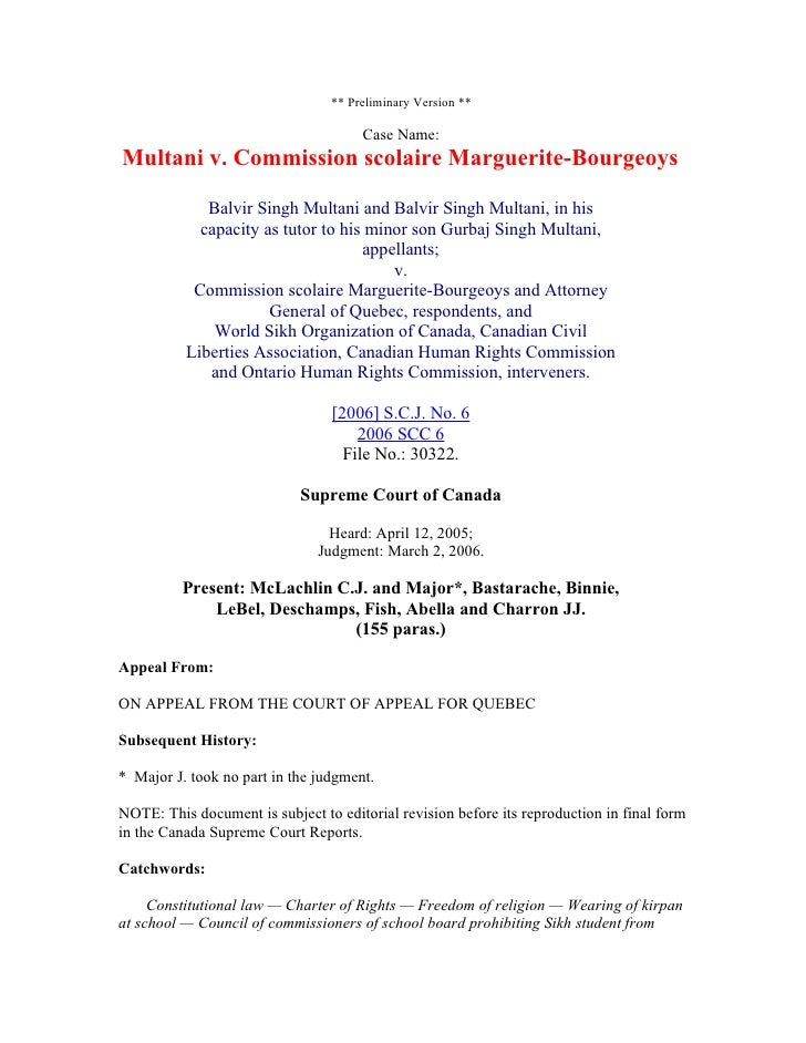 ** Preliminary Version **                                        Case Name: Multani v. Commission scolaire Marguerite-Bour...