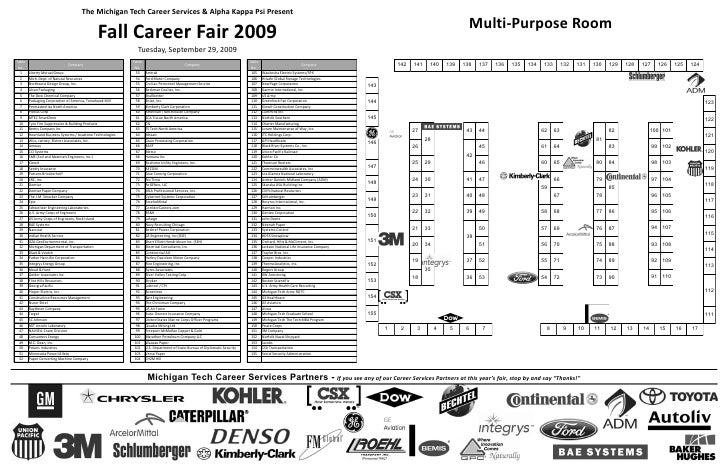 Fall 2009 Career Fair Map