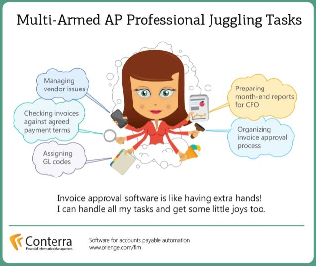 Multi-armed accounts payable professional juggling tasks